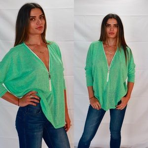 Tops - Front Zipper Fashion Casual Top Half Sleeves